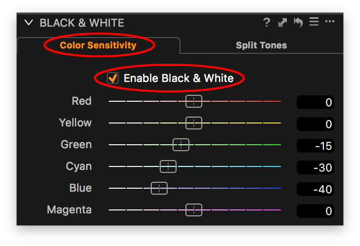 capture one black and white tool, color sensitivity tab