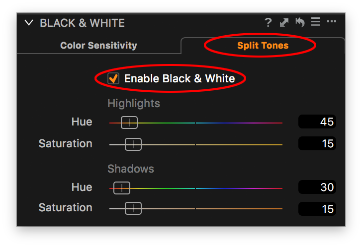 capture one black and white tool, split tones tab