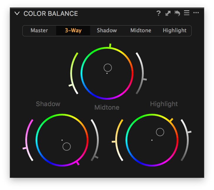 capture one color balance, 3-way tab, with adjustments