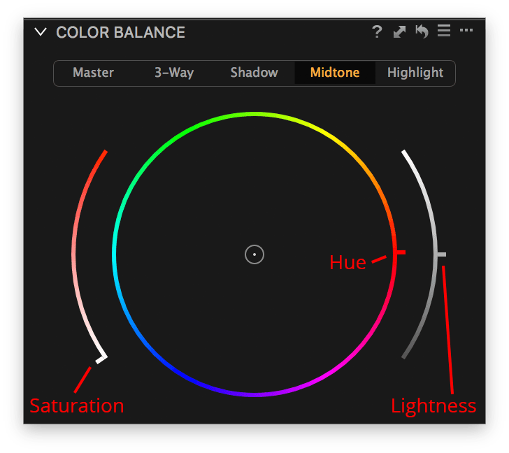 capture one color balance, midtone tab, hue - saturation - lightness