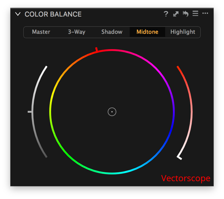 capture one color balance, midtone tab, vectorscope layout