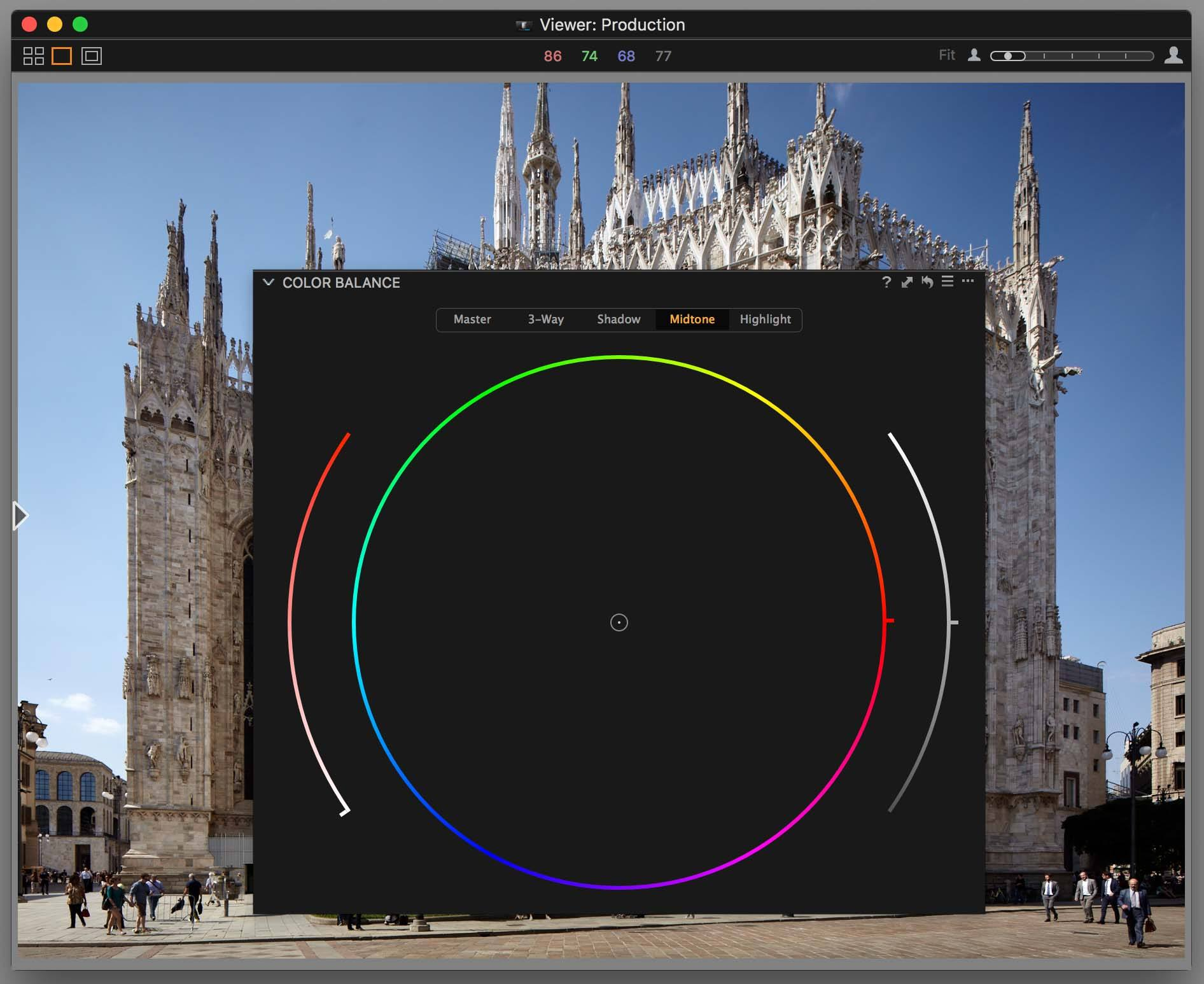 capture one color balance, enlarged tool on top of viewer