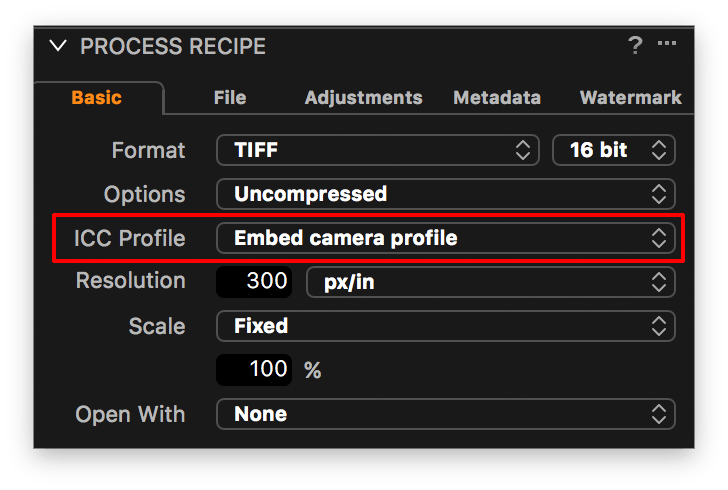 capture one process recipe, embed camera profile