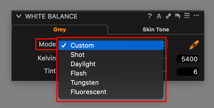 capture one white balance tool, mode drop-down list
