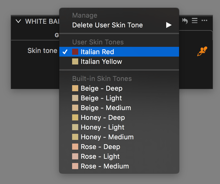 capture one white balance tool, skin tone tab