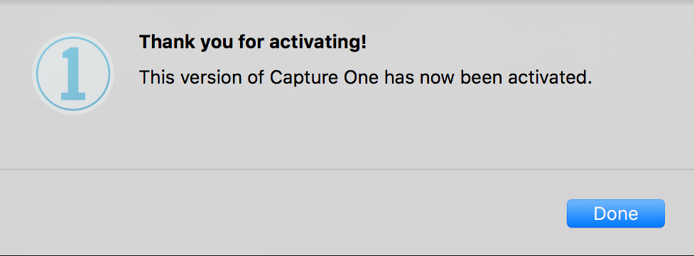 activating capture one pro, activation successful message