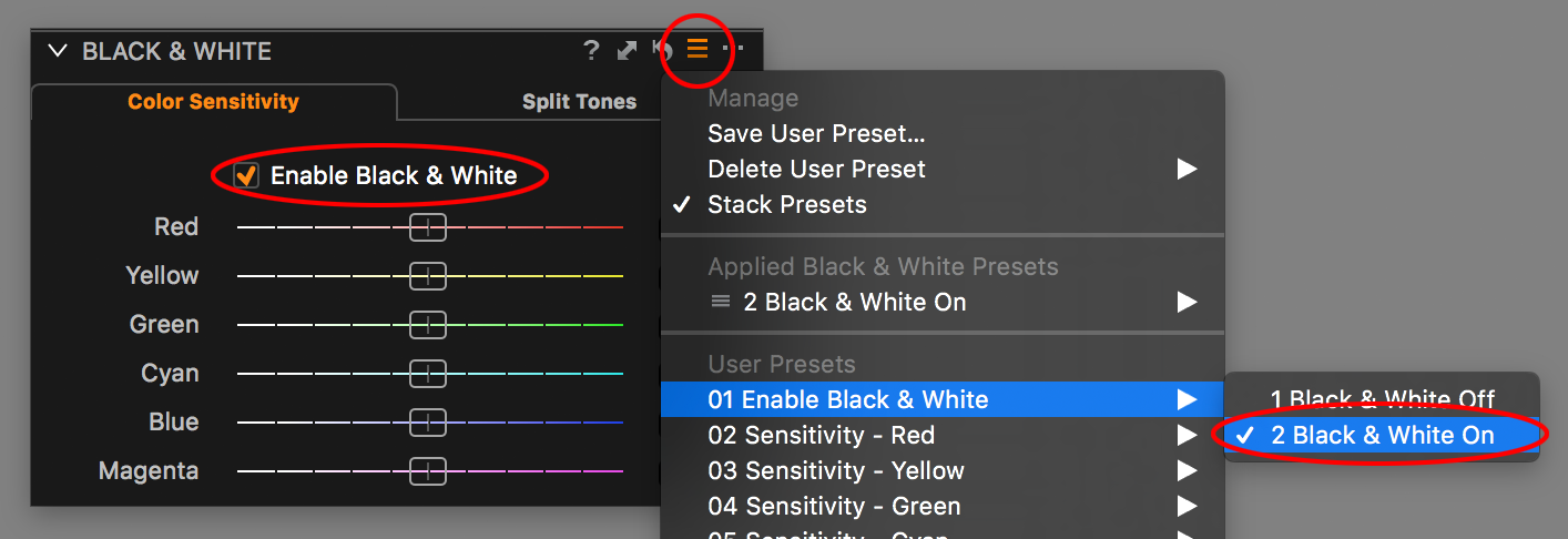 capture one black and white tool, enable B&W preset