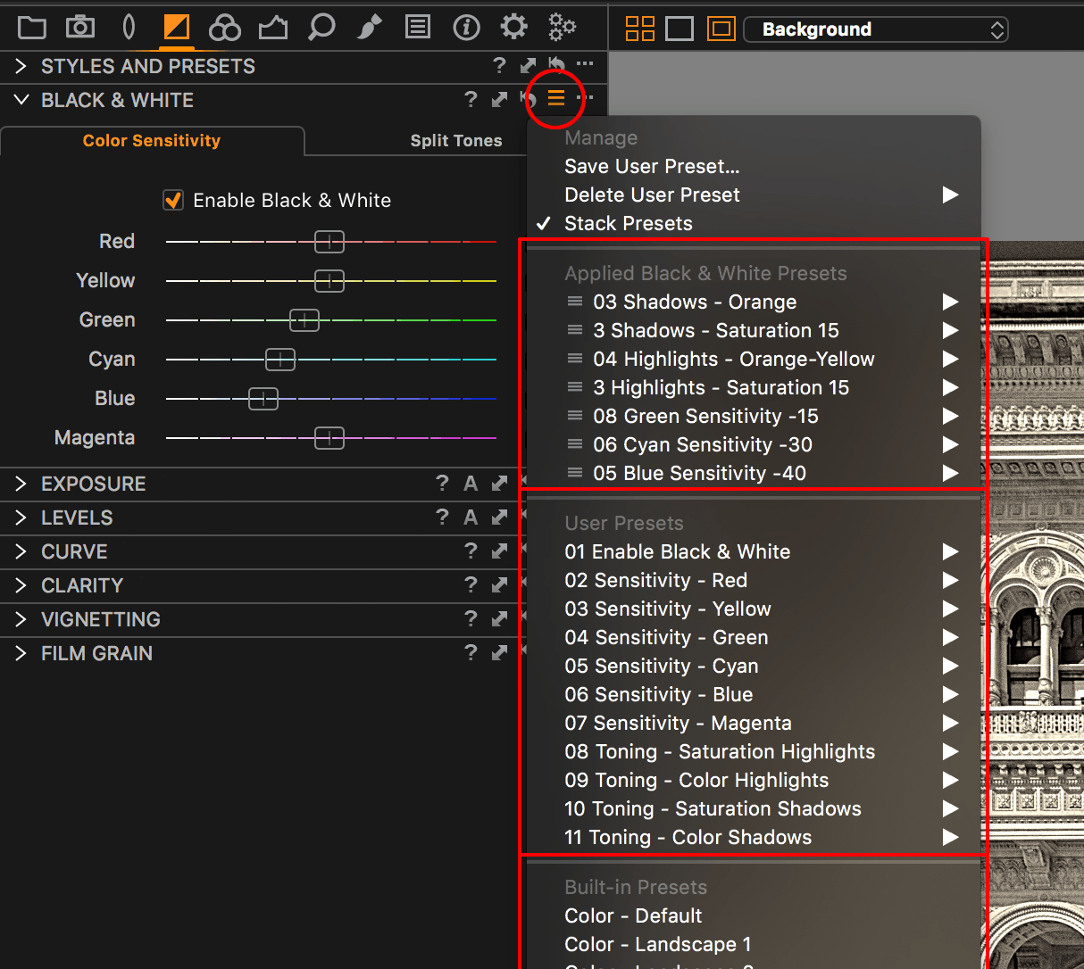 capture one black and white tool, presets