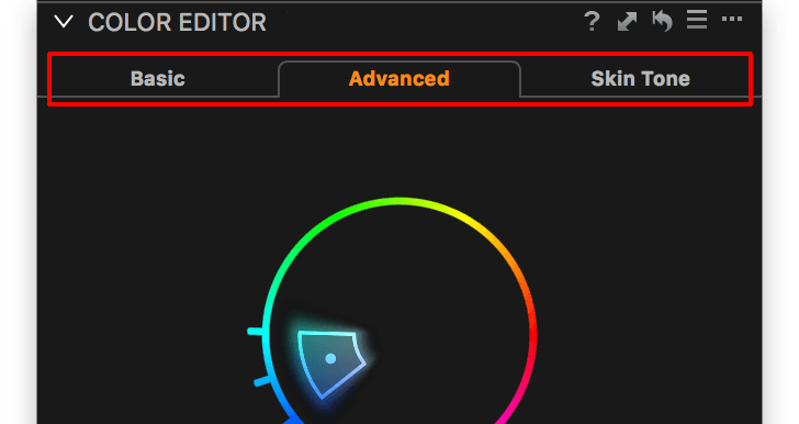 capture one color editor, 3 tabs