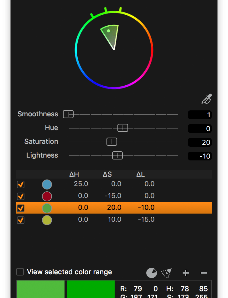 capture one color editor, advanced tab, full saturation range off
