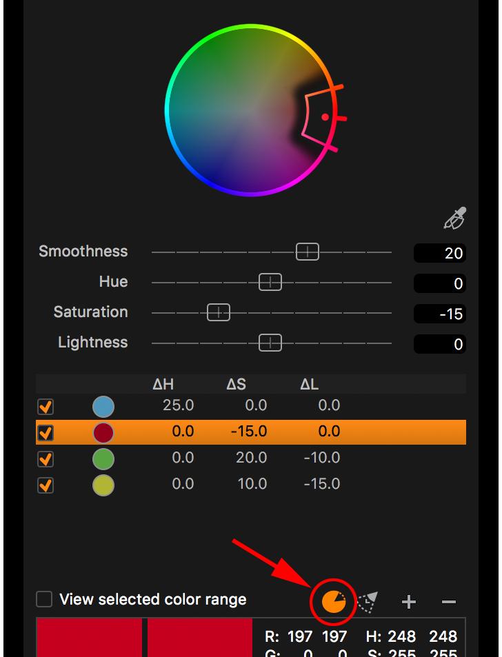 capture one color editor, advanced tab, invert slice on