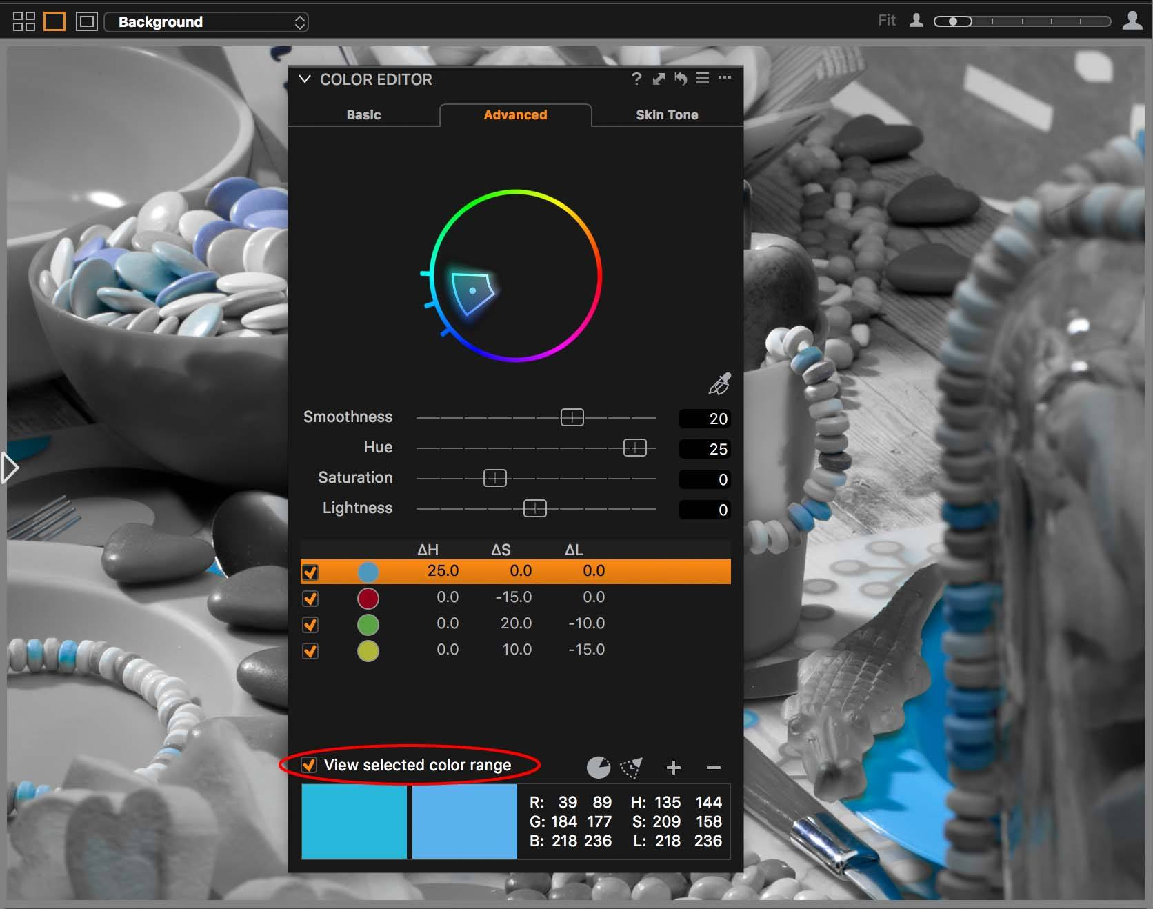 capture one color editor, advanced tab, view selected color range on