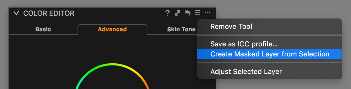 capture one color editor, create masked layer from selection