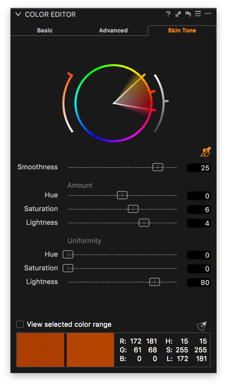 capture one color editor, skin tone tab