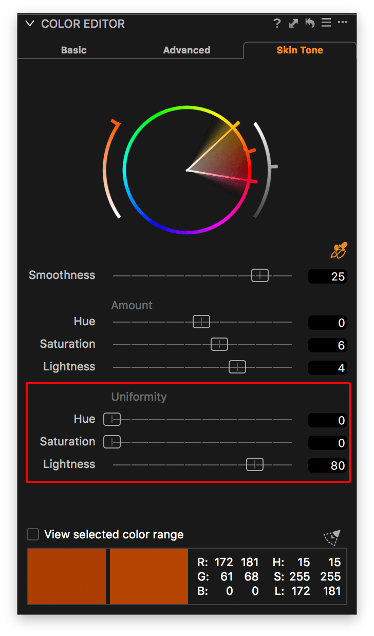 capture one color editor, skin tone tab, uniformity sliders