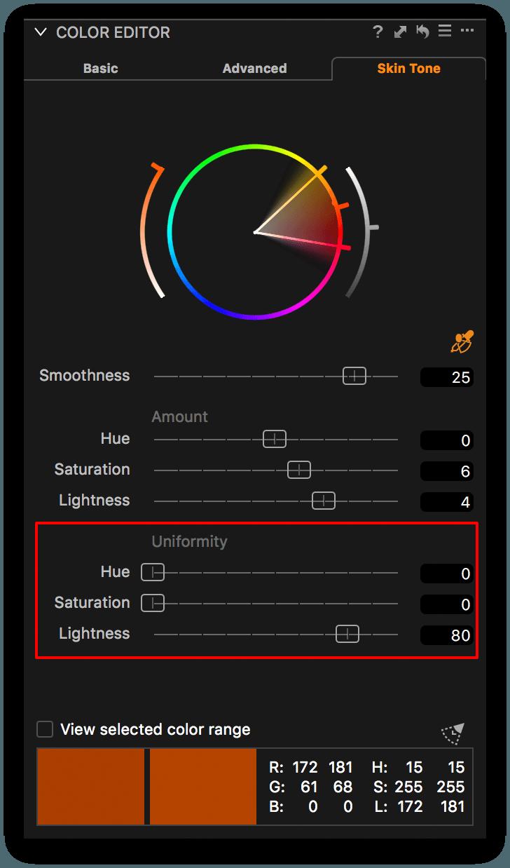 capture one color editor, skin tone tab, uniformity sliders