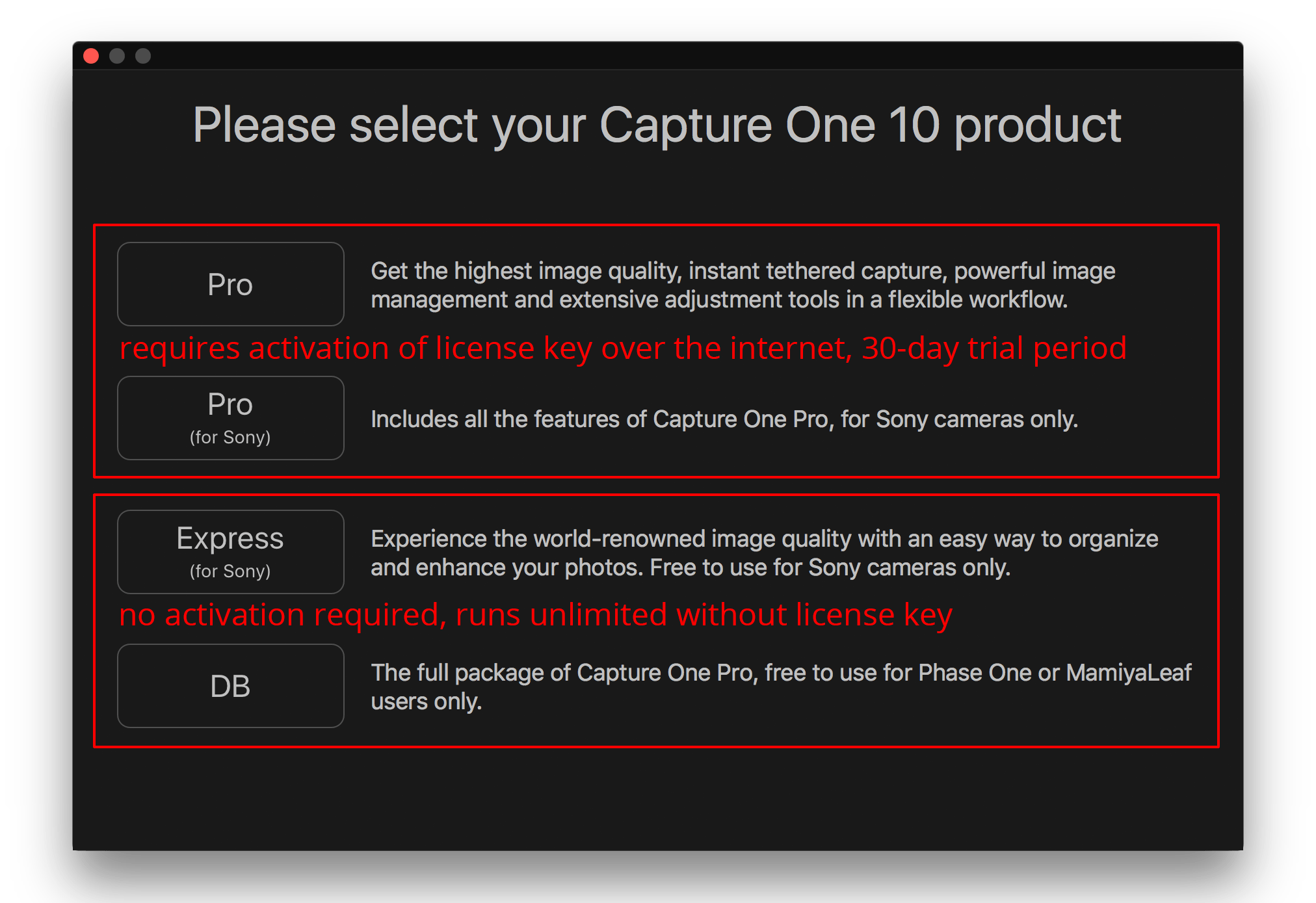 activating capture one pro, select product