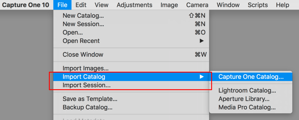 importing images into capture one, file menu