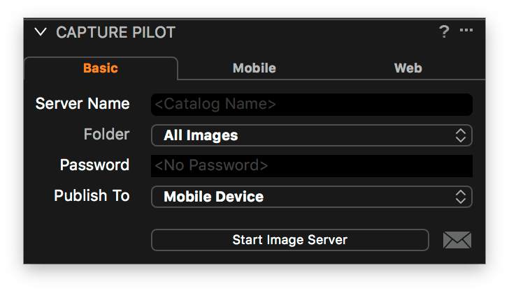 using capture pilot with capture one, basic tab