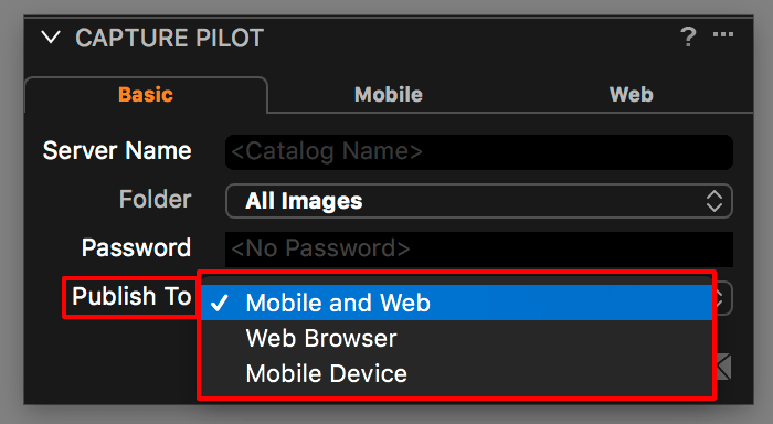 using capture pilot with capture one, basic tab, publish to options