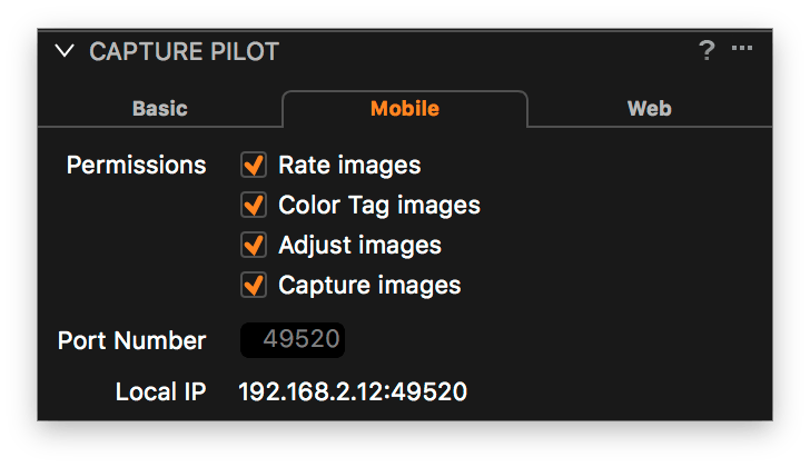 using capture pilot with capture one, mobile tab