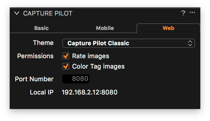 using capture pilot with capture one, web tab