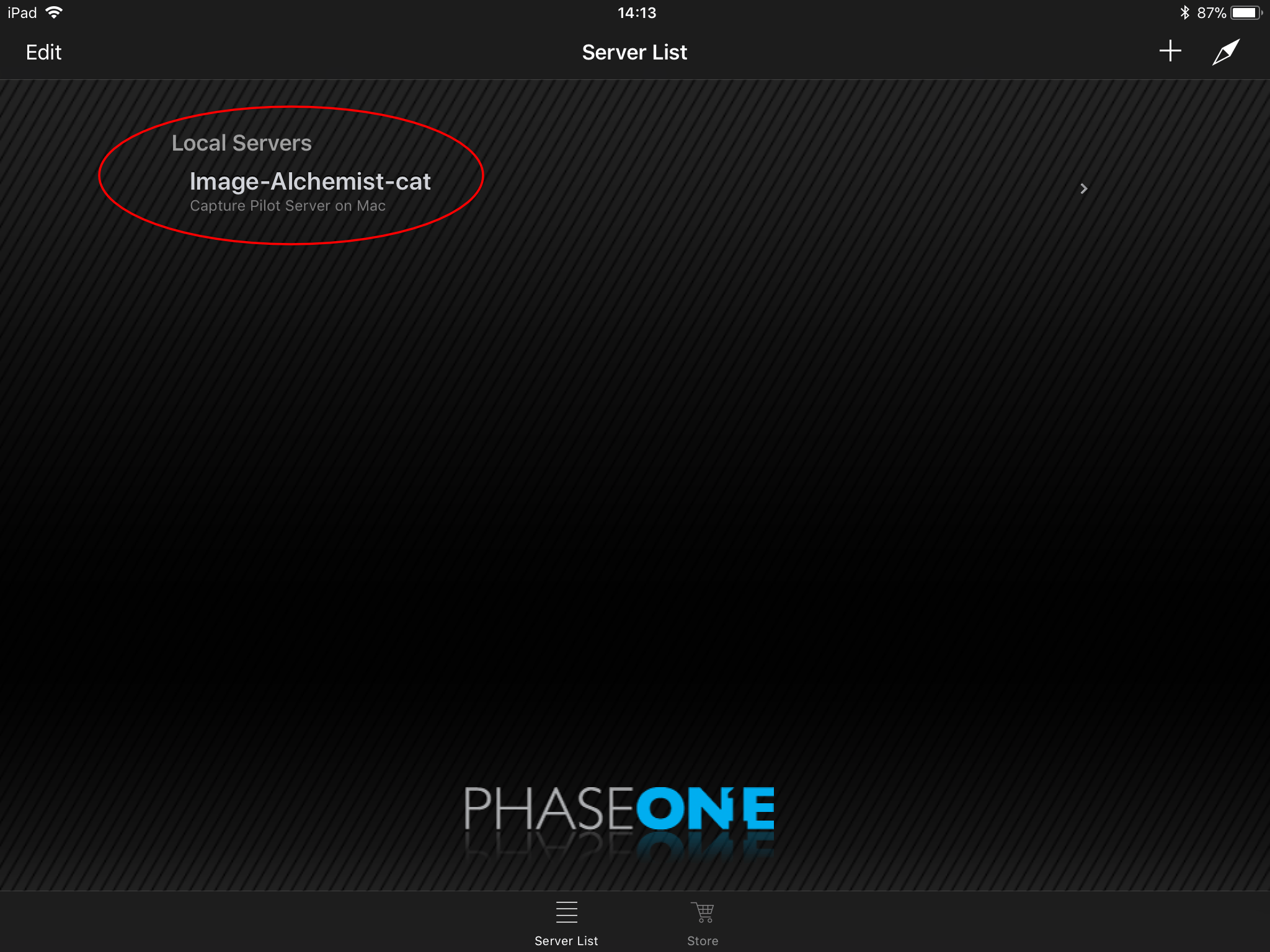 using capture pilot with capture one, capture pilot app, server list