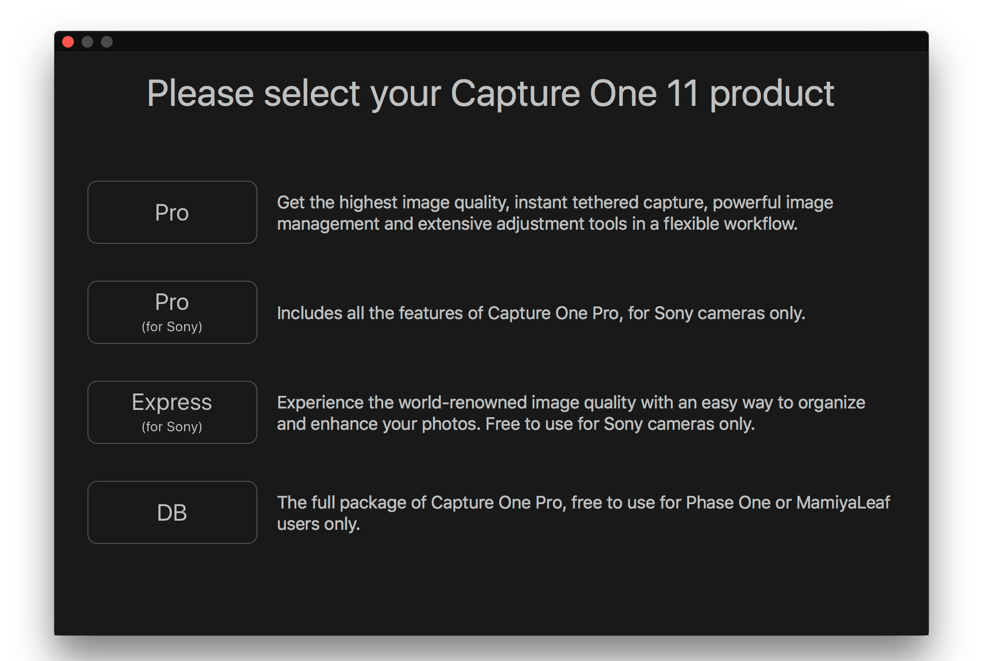 capture one 11, select your product