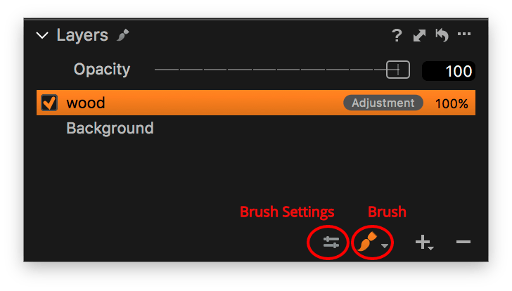 capture one layers explained, brush settings