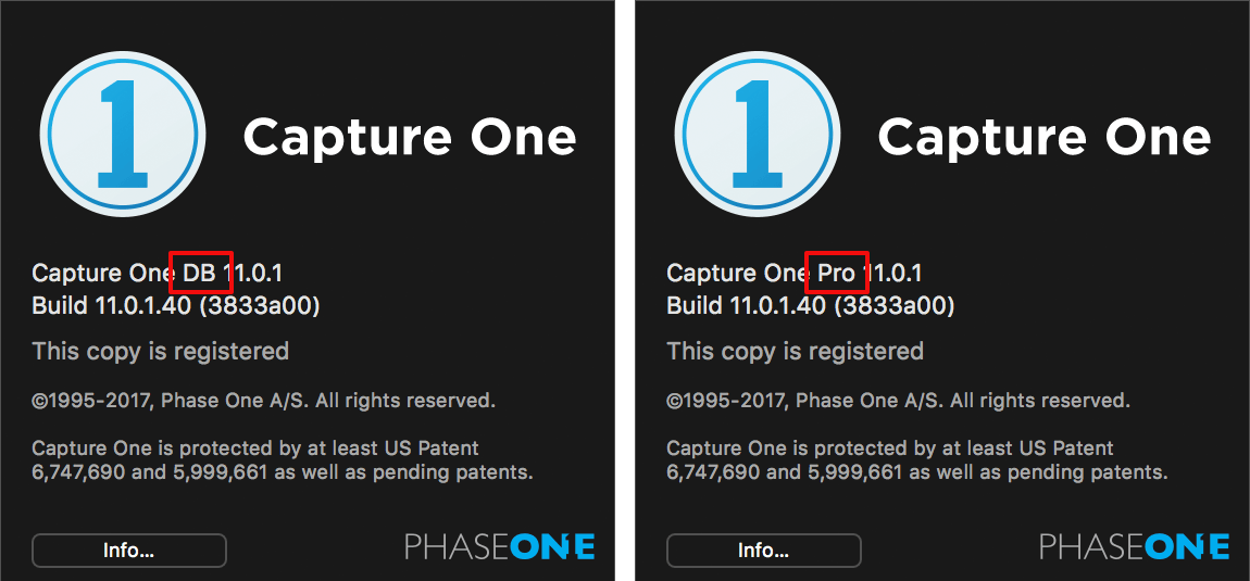 capture one FAQ, capture one db versus pro, about