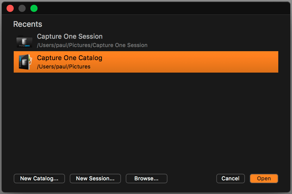 capture one FAQ, recents dialog