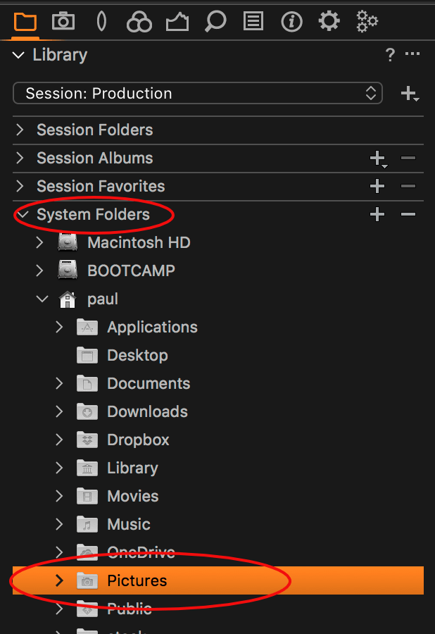 capture one FAQ, session, system folders