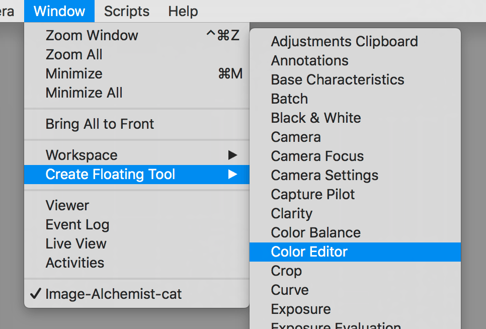 capture one workspace, floating tools menu