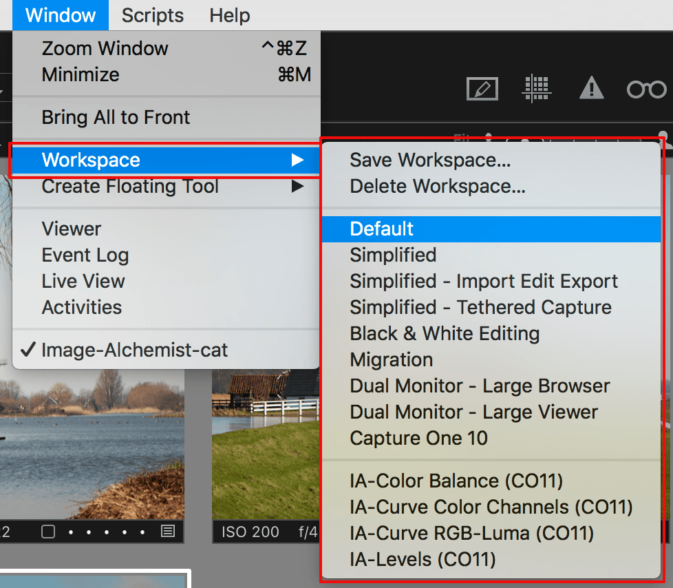 capture one workspace, workspace menu