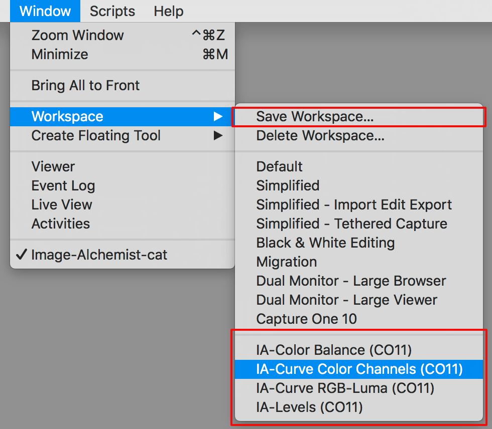capture one workspace, custom workspaces