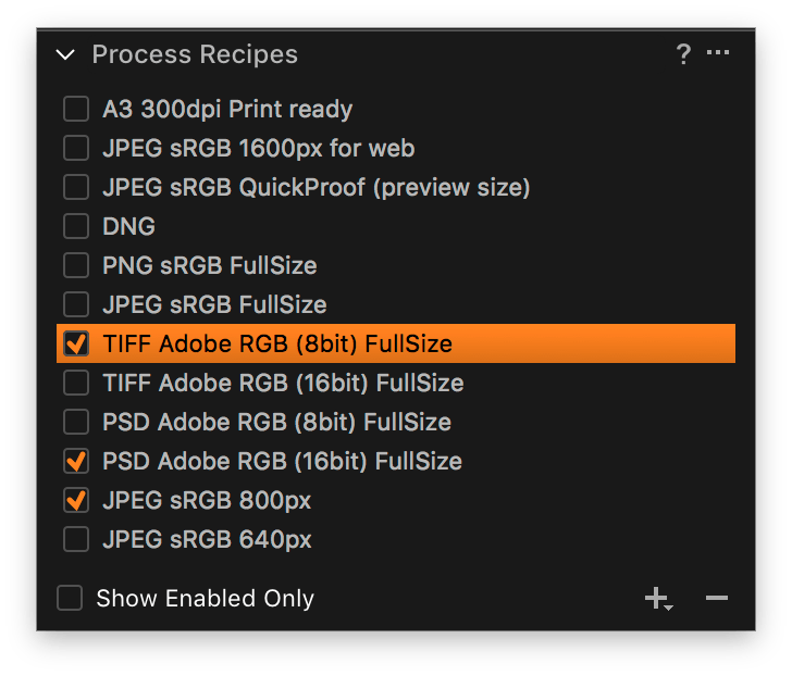 upgrade capture one express to pro sony, process recipe