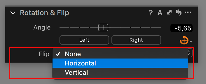 capture one composition tools, rotation and flip tool, flip drop-down list