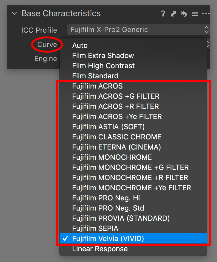 capture one pro 12 review, base characteristics, fujifilm film simulations