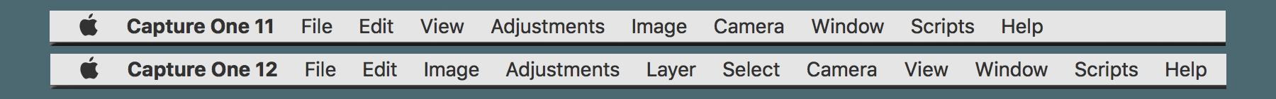 capture one pro 12 review, menu comparison 11 and 12