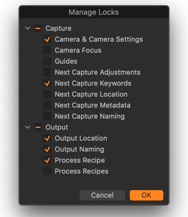 capture one, manage locks dialog