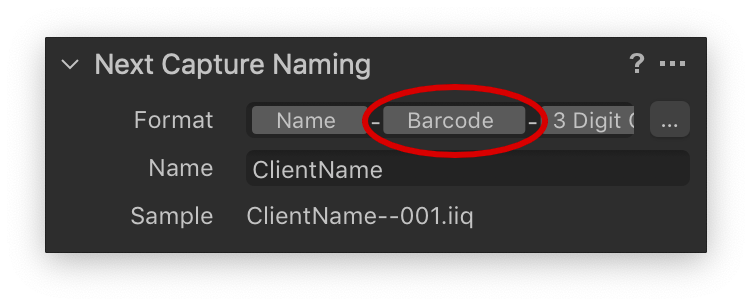 capture one, next capture naming tool, barcode token