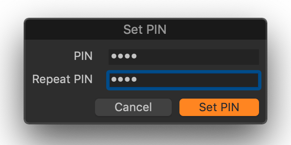 capture one, set pin dialog