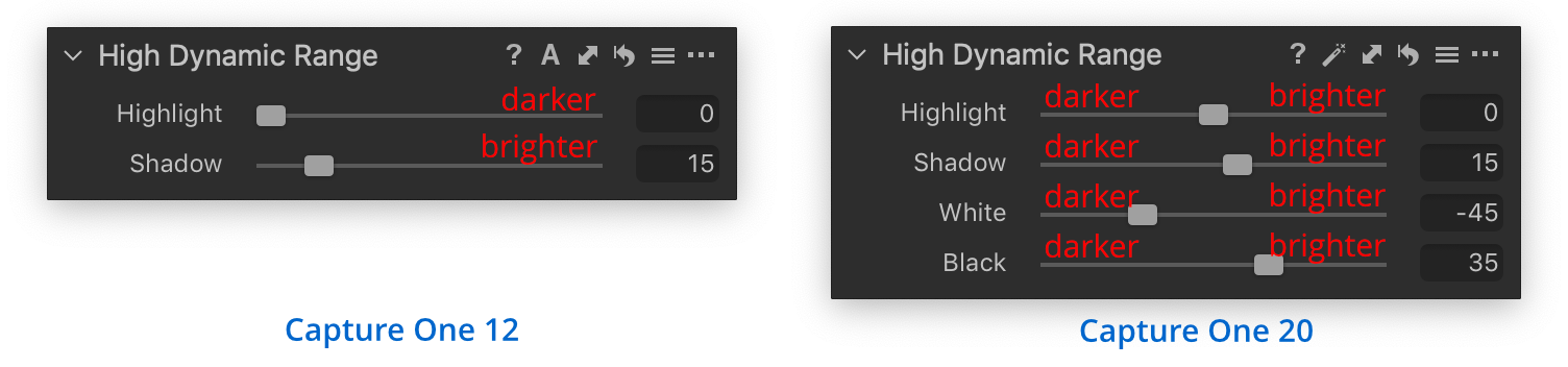high dynamic range tool, comparison capture one 12 and 20