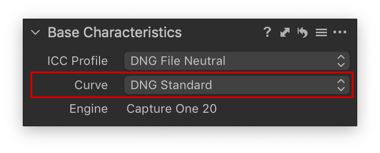 base characteristics tool, dng standard curve, capture one 20