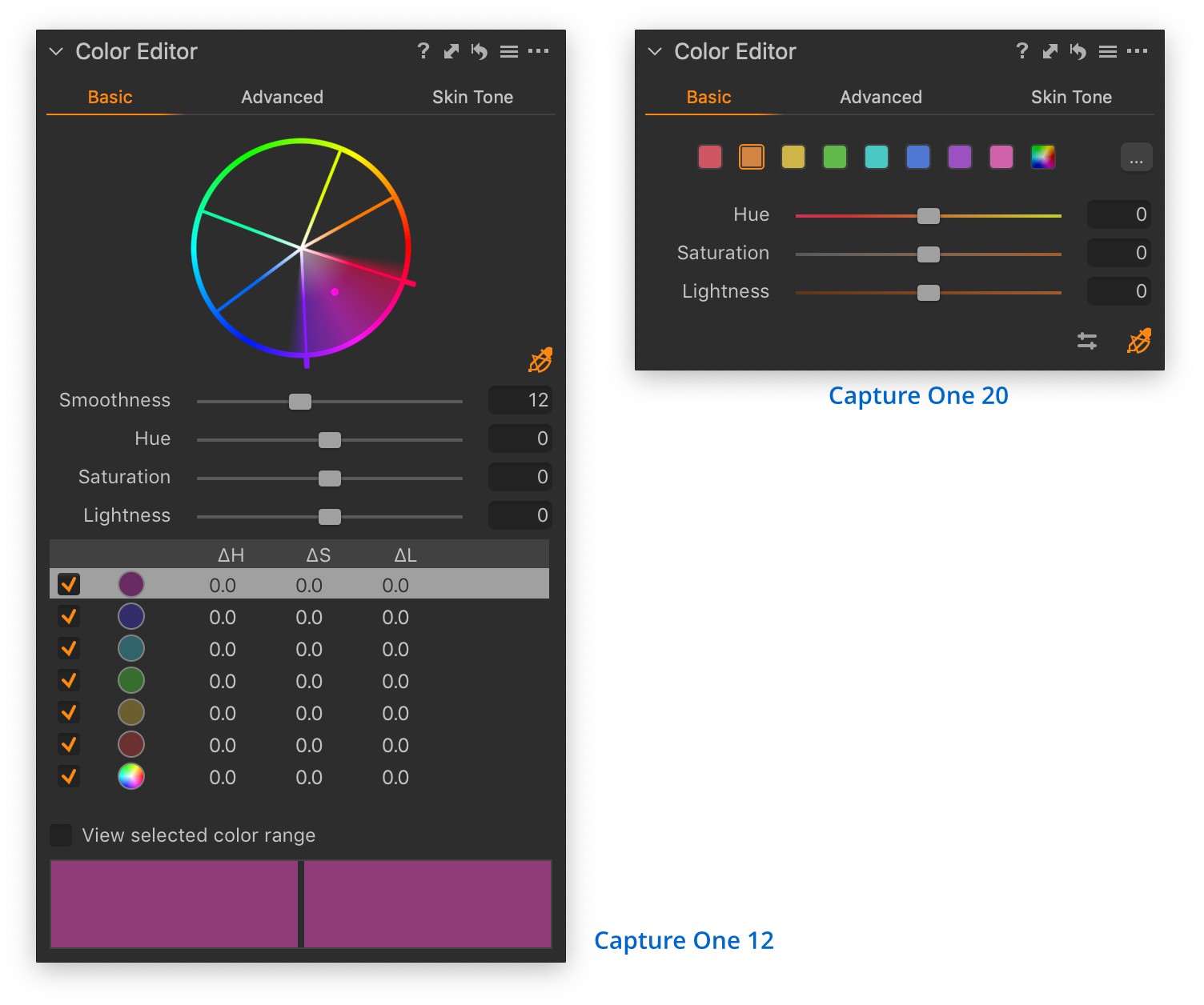 color editor tool, comparison capture one 12 and 20