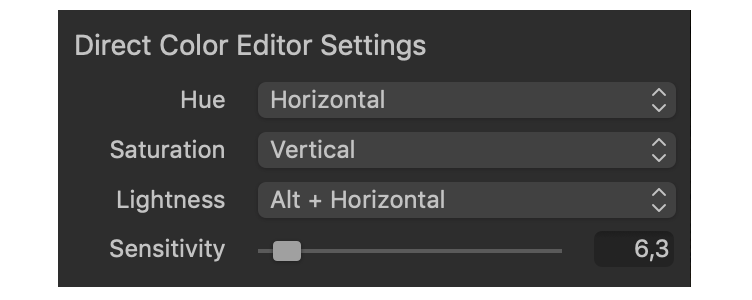 color editor, basic, direct editor settings, capture one 20