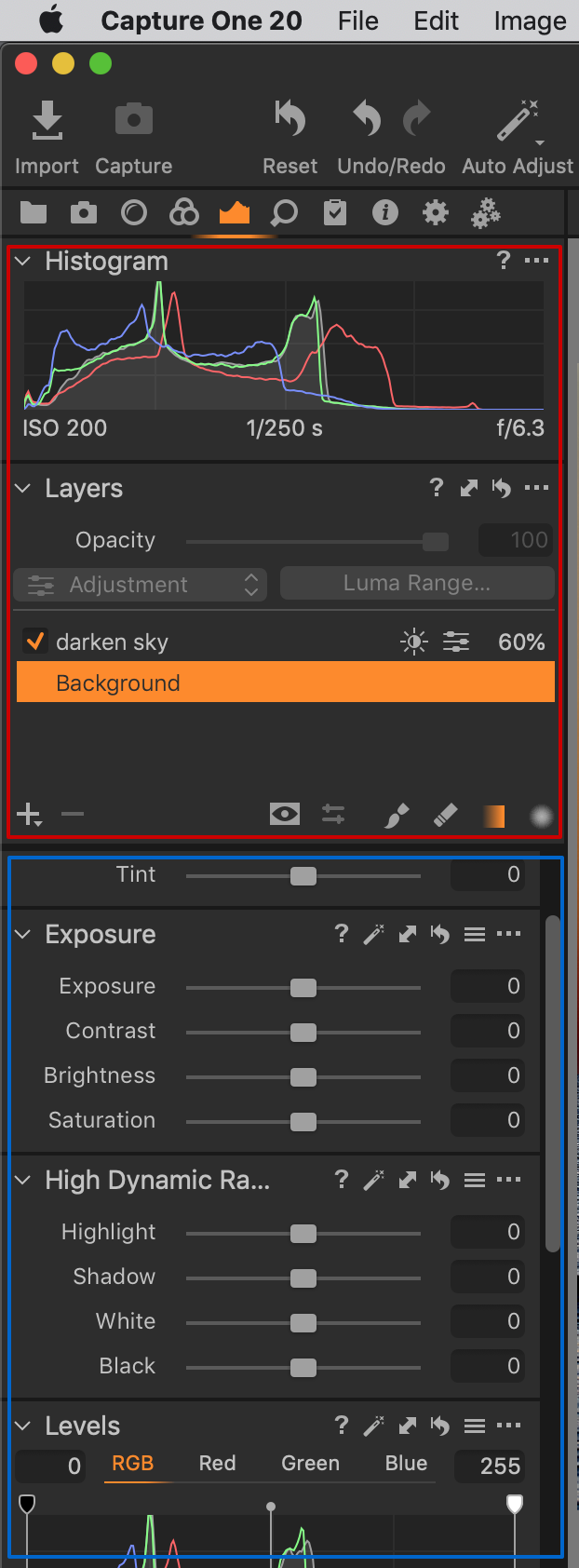 tool tab, pinned and scrollable area, capture one 20