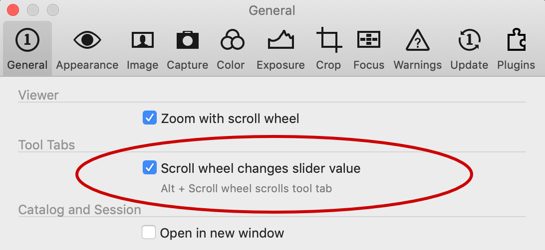 preferences, general tab, scroll wheel setting, capture one 20