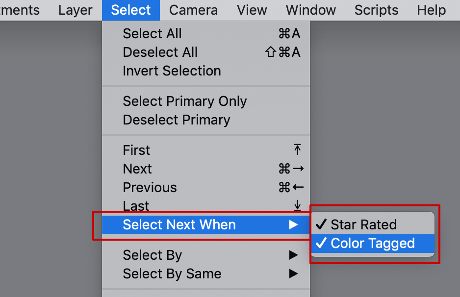 select menu, select next when, capture one 20