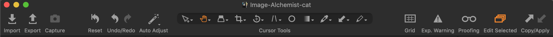 toolbar, icons and text, capture one 20